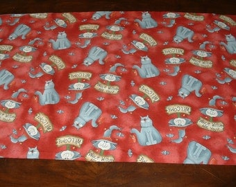 Table Cover/Runner, Reversible to Halloween, Cotton Fabric, Witches, Cats, Clearance Sale