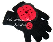 Reserved for Teresa Janzen- Black Knit Gloves Glam Gloves Ring Pendant