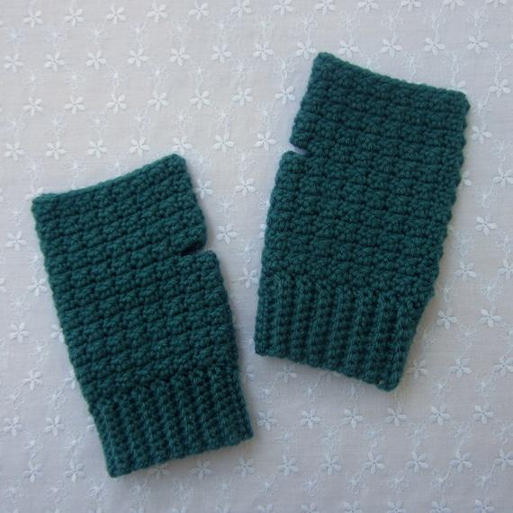 Teal Crochet Fingerless Gloves, Womens Blue Green Fingerless Mittens, Ladies Wrist Warmers, Spring Fashion