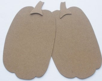"7"" Tall -  XL PUMPKiNS with Stem  -  Halloween Raw Bare Unfinished Chipboard Die Cuts"