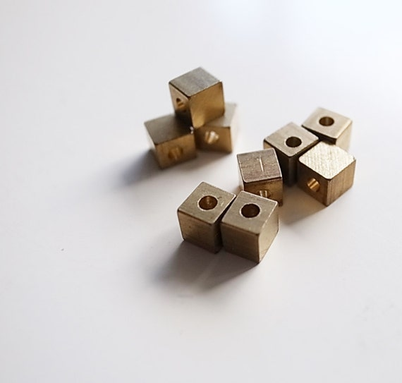 30 pieces of  solid raw brass cube bead charm with hole through 4 mm