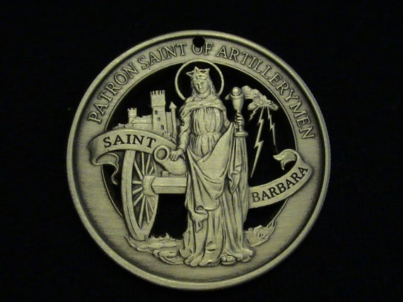 Cut coin medallion - w/ Saint Barbara, Patron Saint of Artillerymen - BRONZE