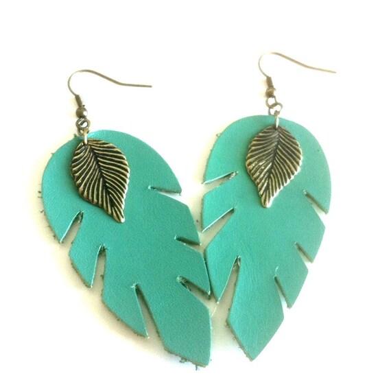 Teal Leaf Feather Earrings