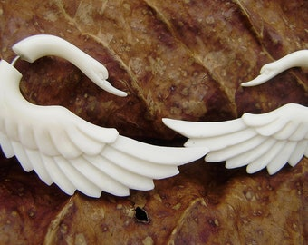 Fake gauge earrings,White Swan, Natural White Bone , tribal style ,Anela hawaii  ,hand craved,cheater earrings
