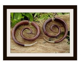 Fake gauge earrings, Silver ,Hand Craved, Natural  Wood ,tribal style, Split Gauge Earrings ,Sprial,organic,natural