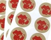 Red Fox Stickers, 24 kraft labels, envelope seals STKK002