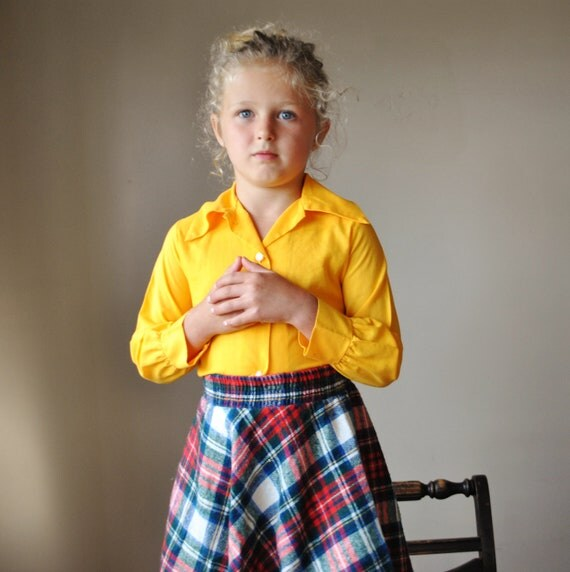 1970s A-line Plaid skirt, 4-6