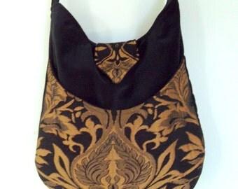 Rich Black and Gold Tapestry Gypsy Bag  Messenger Bag Bohemian  large bag renaissance bag messenger bag medieval bag