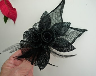 SINAMAY FASCINATOR and PIN,  Black with feathers / 1004