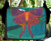 "Laptop Bag - ""Luna Moth Nouveaux""  -  Original Artwork Designed and Hand Made by Billie Anderson in Bigfork Montana USA"