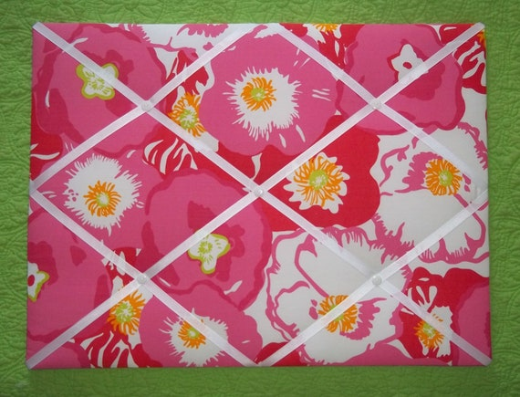 New memo board made with Lilly Pulitzer Hotty Pink Scarlett Begonias fabric