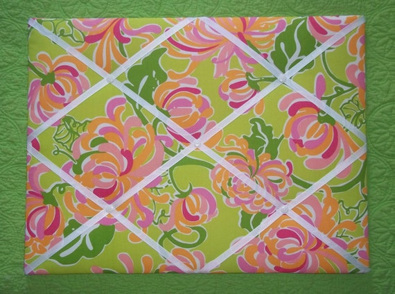 New memo board made with Lilly Pulitzer La Te Dah fabric