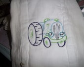 Burp Diaper Embroidered with Toy Tractor