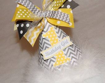 Grey Chevron and Yellow Polka Dot Party Hat