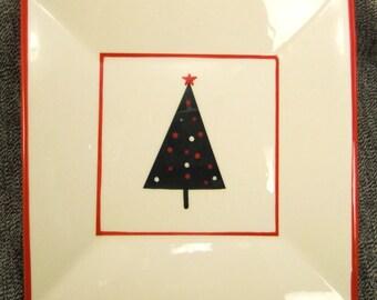 Plate Ceramic CHRISTMAS TREE Designer At Home AMERICA handpainted app 6 X 6