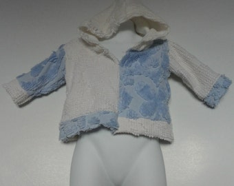 Baby Hoodie. Baby Girl Upcycled Clothing. Vintage Chenille Hoodie. Size  0 to 6 Months. Upcycled Clothing. Winter Top.