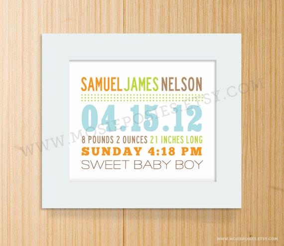 Mixed Typography Birth Announcement Print - Horizontal Nursery Art