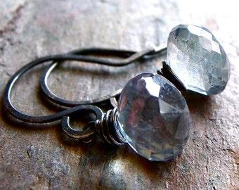 Blue Mystic Quartz Sterling Silver Onion Briolette Earrings