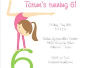 Brunette Girls Flip on Over Gymnastics Party Printable Party Package