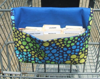Coupon Holder or Purse Organizer Neon Bubbles Lime BlueLining