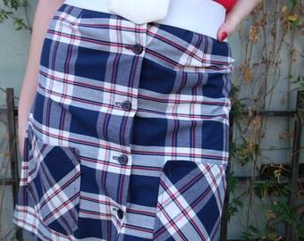 Vintage 60's Plaid Skirt . Blue White Plaid Schoolgirl Shorts. Skorts Small