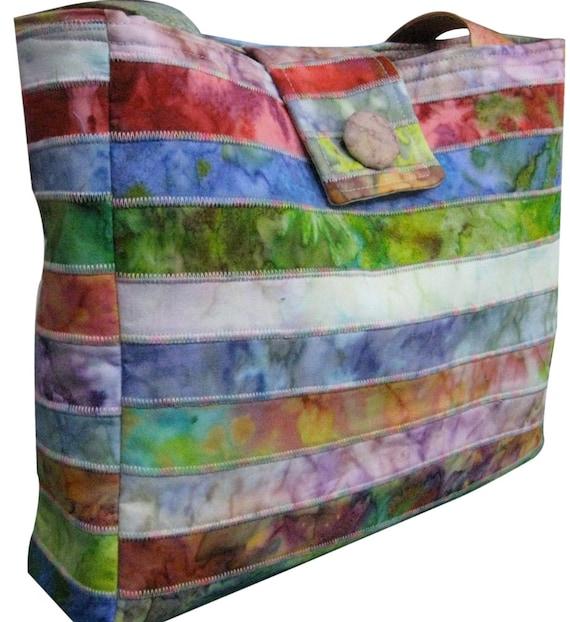 Purse in Rainbow Mixed Batik Fabrics