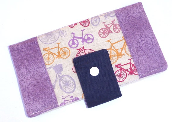 Wallet Purse Bifold Long Clutch iphone Pouch Purple Bicycle By BonTonsGifts on Etsy