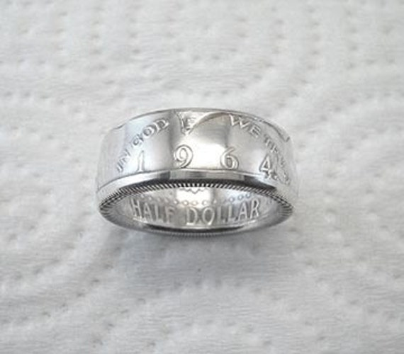 Coin Ring. 1964 Kennedy Silver Half Dollar. Size 8. REDUCED PRICE.