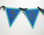 50th Birthday Pennant Banner - 50 ROCKS  - Ready to Ship