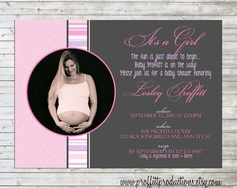My Baby Custom photo baby shower card invitation - digital file