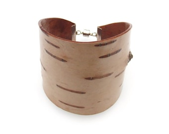Birch bark bracelet, wood bracelet, Chestnut