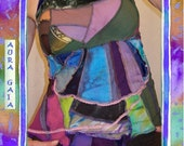 Morphed & RESERVED Multicolor Halter Top Patchwork in various Eco-Friendly Fibers . Festival Dance Hoop Wear . Hand Dyed fits misses 4 - 12