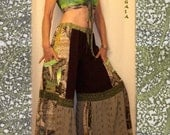 Reserved Happy Legs Baggy Tiered Patchwork Pants w Drawstring Waist made from ReCyCLeD fabrics