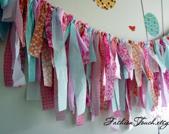 SALE 20%OFF Wedding Decor, Wedding Banner, Pastel Pink, Orange and Aqua Fabric Banner, Fringe Garland,  Photo Prop or Decore