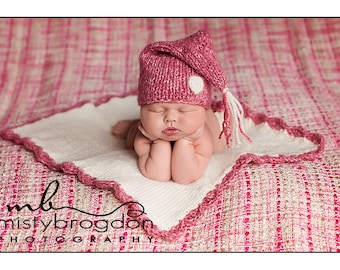 Rose Pink Baby Hat and Blanket Set, Layering Blanket, Knit Photo Prop, Knit Baby Hat, Baby Hat, Stocking Hat