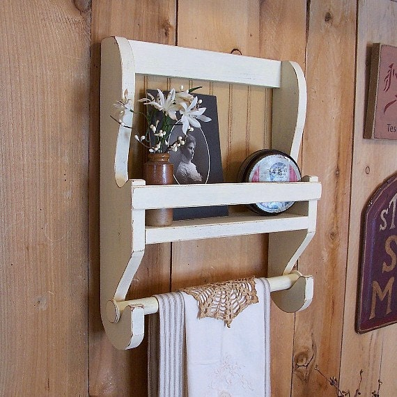 Shabby Chic Farmhouse Towel Shelf Handmade Wooden Kitchen Wall