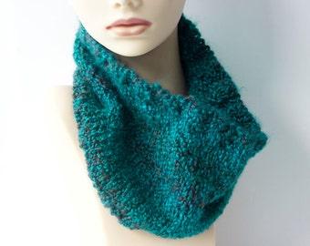 Hand Knit  Cowl,  Aqua, Teal Blue  Neckwarmer,  Knit Circle Scarf, Chunky Scarf, Ready to Ship, Ready to Ship