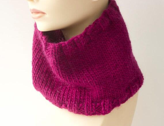 Raspberry  Scarf, Womens Gift, Knit Neck Warmer, Alpaca, Wool Cowl Scarf, Stocking Stuffer, Ready to Ship