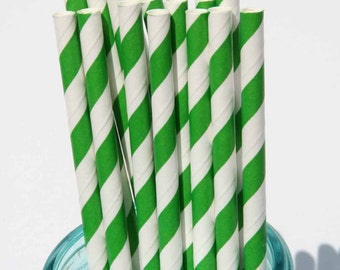 SALE Paper Straws, 25 Green Striped Paper Straws, Party, Wedding, Shower