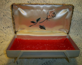 Vintage 1960s Floral Tapestry Rose Satin Jewelry Box