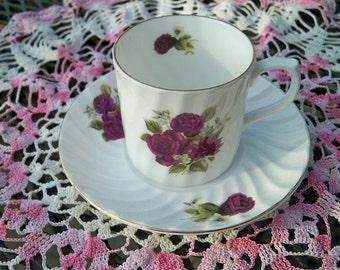 Vintage Burgundy Roses Demitasse China Teacup and Saucer Golden Crown