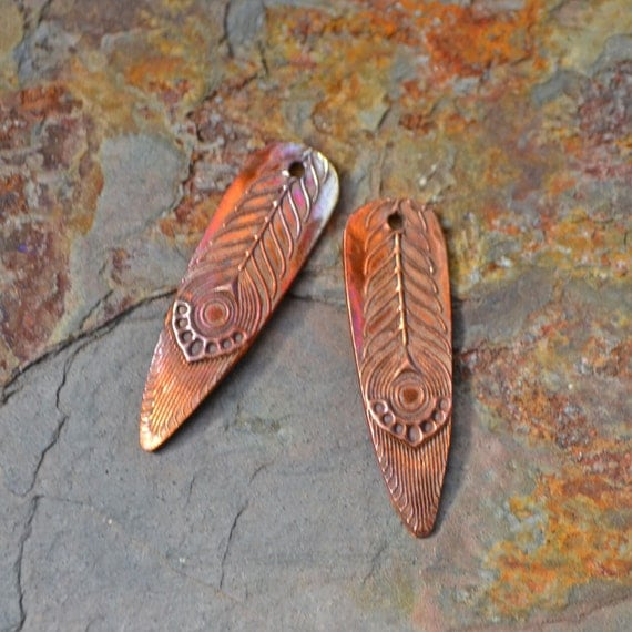 Handmade Copper Deco Feather Shard Component pair