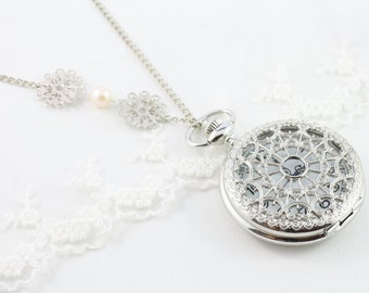 Timeless - Winter Snowflakes - Elegant, Exquisite, Beautiful Everyday Pocket  Watch Necklace. Nostalgic and timeless.