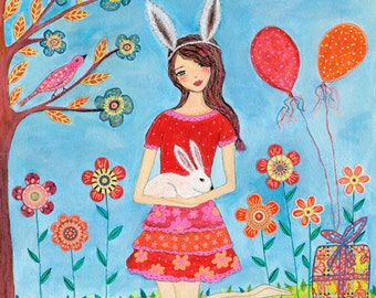 Girl and Bunny Rabbit Painting, Spring Decor, Nursery Art Decor, Girls Bedroom