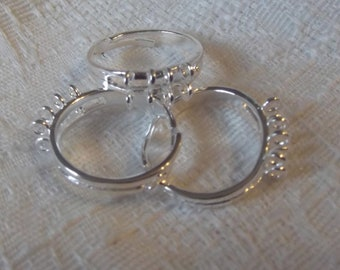 Brass Ring Forms, Silver Plated, 8 Loop, 3 pcs   no.100640