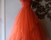 50s Dress // 50s Party Dress // 50s Prom Dress // Vintage 1950s Coral Tulle Party Dress Size S