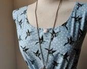 Jennifer Lilly Handmade Sky Blue Swallow Bird Cotton Longer Dress // Boho Woodland Kitsch Bohemian Romantic Whimsical Dress (M,L)