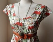 Bohemian Floral Coral Green Whimsical Pixie Tea Dress XS S