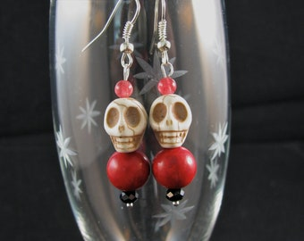 Stone Skull with blood red stone bead  and black accents sterling dangle earrings