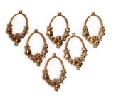6 Links, Finding Supply, 6 Chandelier Open Oval with Flowers Components, Antique Gold Colored, 42mmX32mmX4mm